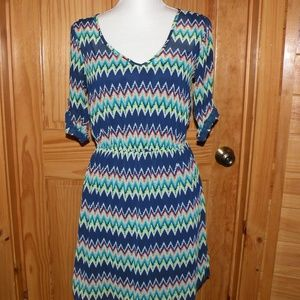 Rue 21 Chevron Dress Size Small Vivid Colors